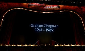 Monty Python pay tribute to their deceased former member Graham Chapman. Photograph: Dave J Hogan/Getty Images