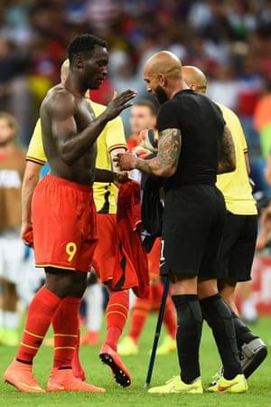 Romelu Lukaku and Tim Howard swap shirts after an exhilarating game.