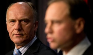 Eric Abetz and Greg Hunt after the carbon tax repeal goes down. Photograph: Mike Bowers Guardian Australia