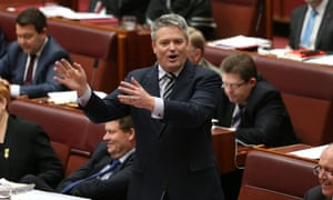 Finance minister Mathias Cormann during question time in the senate.