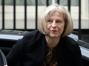 Theresa May arriving for this morning's cabinet meeting to discuss the emergency surveillance bill.