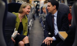 Ed Miliband and Yvette Cooper travelling to a meeting together by train.
