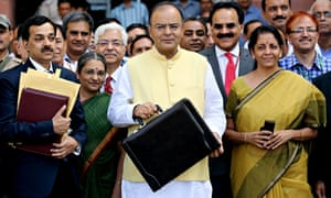 Indian finance minister Arun Jaitley on his way to present the 2014 budget in the Indian parliament