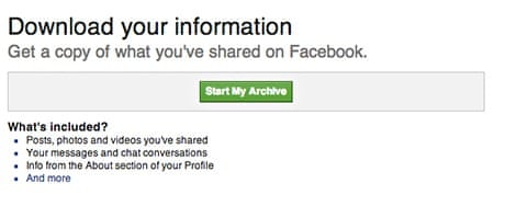 Download all of your Facebook data