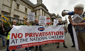 Striking workers stand outside the National Gallery in central London