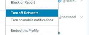 Disable retweets