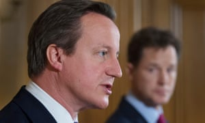 David Cameron (left) and Nick Clegg at their press conference.