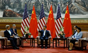 John Kerry, left, meets with China's president, Xi Jinping and vice premier, Liu Yandong, right. at