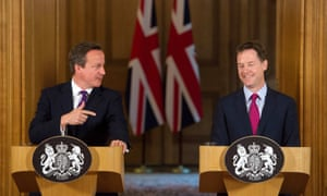 Cameron and Clegg at their joint press conference.