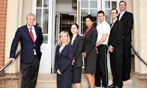 Stephen Purdew and the senior staff of Champneys. Photograph: Tony Ward/ITV