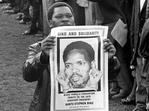 The funeral of Black Consciousness leader Steve Biko, who died in police custody in South African 1977.