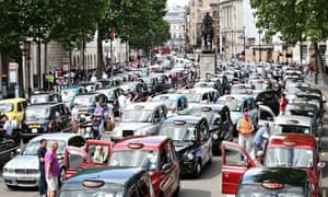 London Faces Gridlock As Black Taxi's Protest Against Uber App