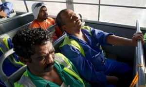 Exhausted migrant workers