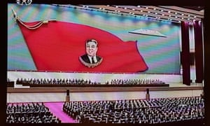 This screen grab taken from North Korean TV shows a mass memorial meeting in Pyongyang to mark the 20th anniversary of the death of Kim Il-sung in 8 June 2014.