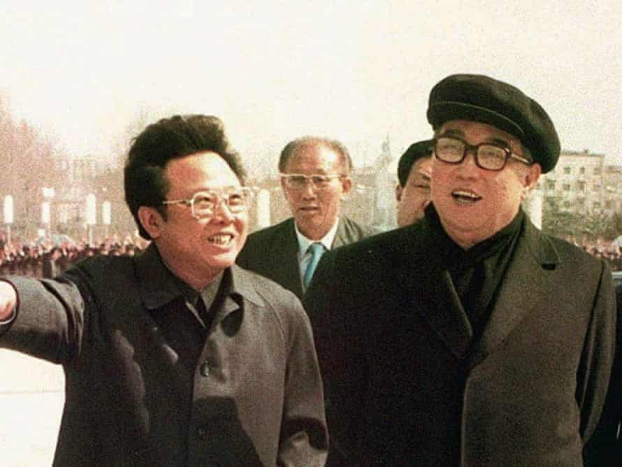 Kim Jong-il and his father Kim Il-sung, right, in Pyongyang in 1982.