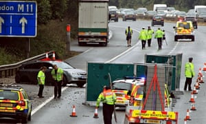 Woman dies after crash between lorry and car on M11 in Essex | UK