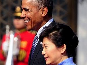 Barack Obama and South Korean president, Park Geun-Hye, in Seoul.