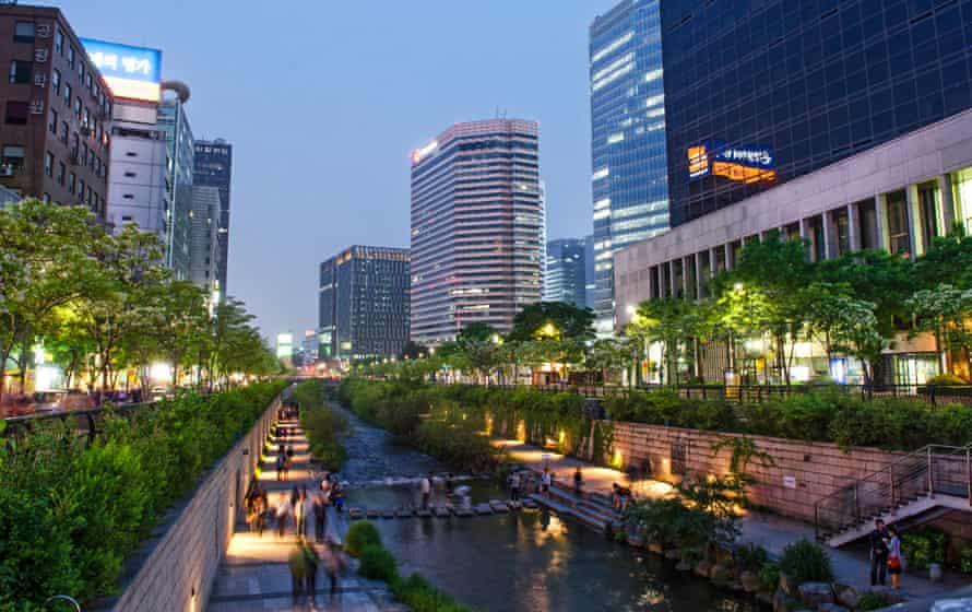 Cheonggyecheon stream in central Seoul.