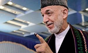 14 June 2014 photo of Hamid Karzai speaking in Kabul, Afghanistan.
