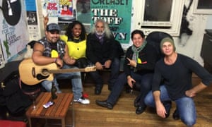 Performers for the Songlines Naidoc Jam gather before the show.
