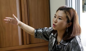 Won Jeong-hwa speaks to a reporter during an interview at her apartment in Gunpo, south of Seoul, South Korea.
