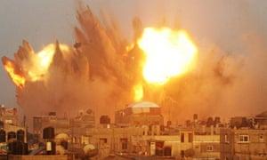 An air strike in Rafah in the southern of Gaza strip