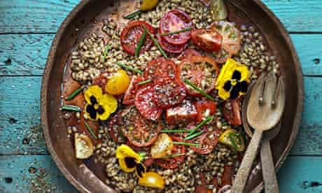 Stevie Parle's tomato salad with flowers, za'atar and freekeh.