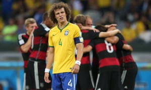 Brazil's captain David Luiz reacts during the match against Germany.