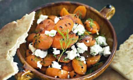 Sabrina Ghayour's cumin-roasted carrots with honey-lemon dressing and goats' cheese