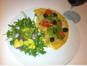 'French Socca: An aptly named recipe consisting of a Nicoise chickpea flour pancake, served with a pissaladiere type topping.'