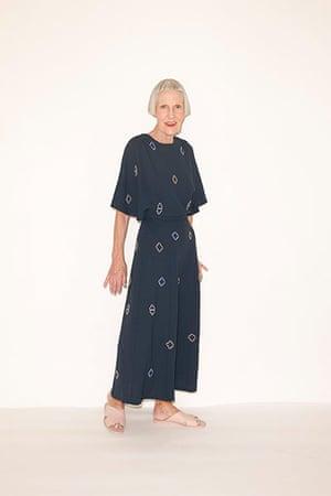All Ages summer dresses: dark blue patterned dress pool slider shoes pale pink