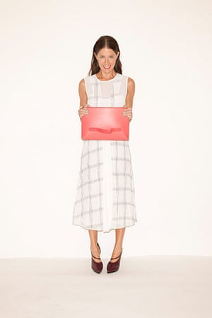 All Ages summer dresses: white sleeveless checked pattern dress red clutch bag high heeled shoes