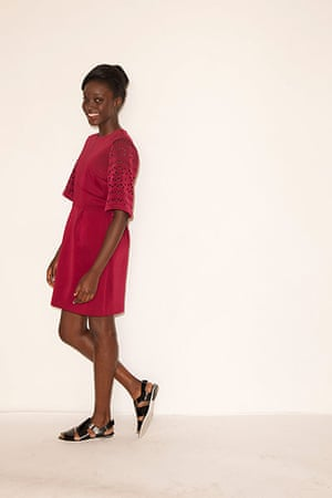 All Ages summer dresses: red dress black flat heeled sandals