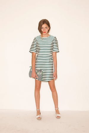 All Ages summer dresses: green and white striped dress silver sandals