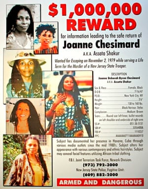 The reward poster provided by the New Jersey state police for Shakur's capture.