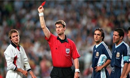 David Beckham red card World Cup 1998 Finals