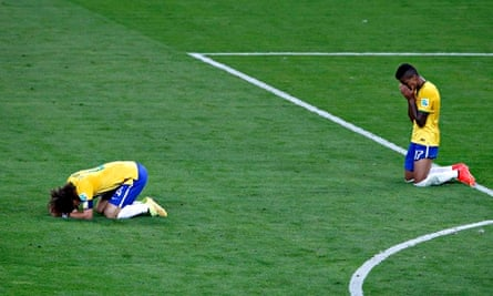 Brazil's David Luiz (left) and Luiz Gustavo after their 7-1 deafeat by Germany