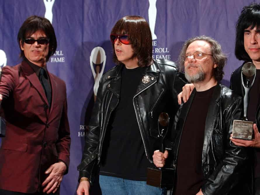Members of the Ramones, from left, Dee Dee, Johnny, Tommy and Marky after being inducted at the Rock and Roll Hall of Fame in 2002