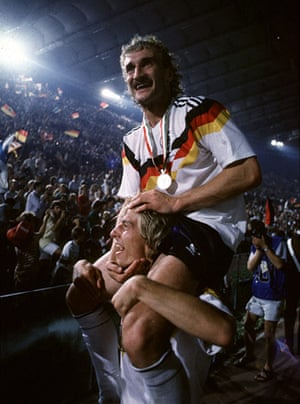 1990 world cup final: Rudi Voller celebrates on the shoulders of Jurgen Klinsmann