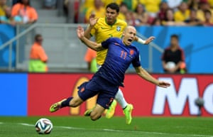 Holland's Arjen Robben is brought down by Brazil's captain Thiago Silva in the penalty box. Should the card have been red?