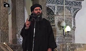 Isis leader Abu Bakr al-Baghdadi at a mosque in Mosul, Iraq