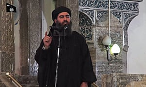 Isis leader Abu Bakr al-Baghdadi at a mosque in Mosul, Iraq