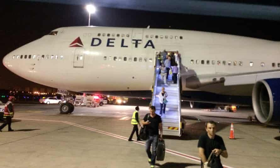 A New York-bound Delta Air Lines plane at Ben Gurion Airport in Tel Aviv after an emergency.