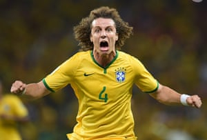 Best of the World Cup...: Brazil's defender David Luiz celebrates
