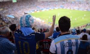 Argentina fans make some noise.