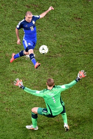 Rodrigo Palacio should have done better but hats off to Manuel Neuer for the speed he came of his line and making himself big.