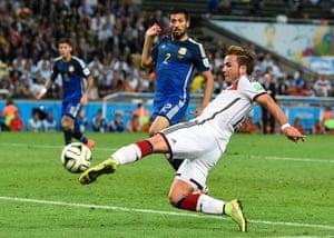footy.: Germany's Goetze shoots to score
