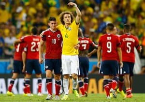 best world cup: Brazil's Luiz gestures at Colombia's Rodriguez