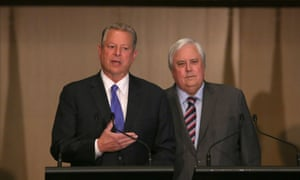 Former United States Vice President Al Gore and Palmer United Party (PUP) Leader Clive Palmer hold a press conference in the Great Hall at Parliament House in Canberra, Australia.