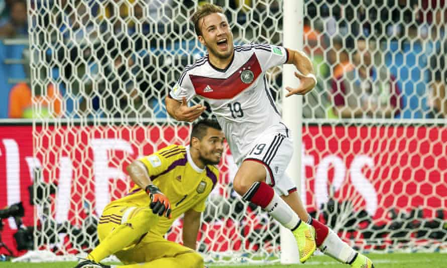 Mario Götze of Germany wheels away after scoring the winning goal against Argentina in the World Cup final.
